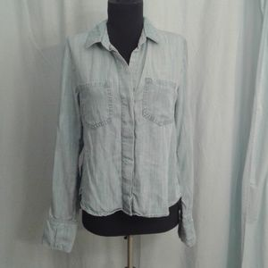 Elevenses Chambray button front shirt hi-low